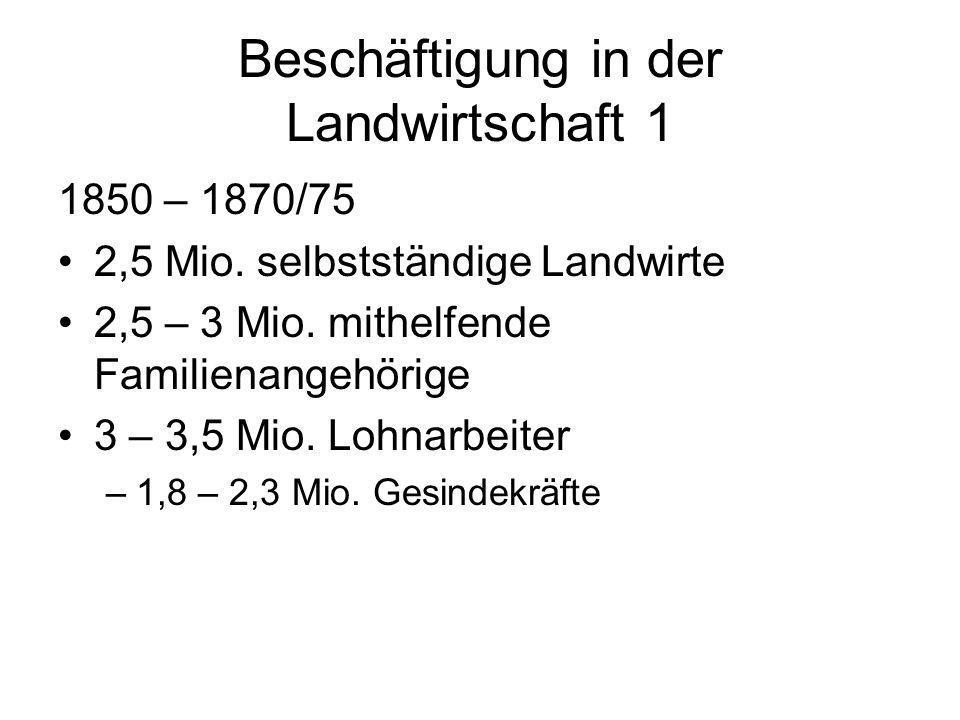 Beschäftigung in der Landwirtschaft 1 1850 – 1870/75 2,5 Mio. selbstständige Landwirte 2,5 – 3 Mio. mithelfende Familienangehörige 3 – 3,5 Mio. Lohnar