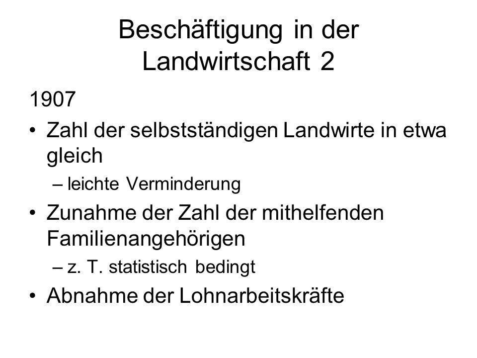 Beschäftigung in der Landwirtschaft 2 1907 Zahl der selbstständigen Landwirte in etwa gleich –leichte Verminderung Zunahme der Zahl der mithelfenden F