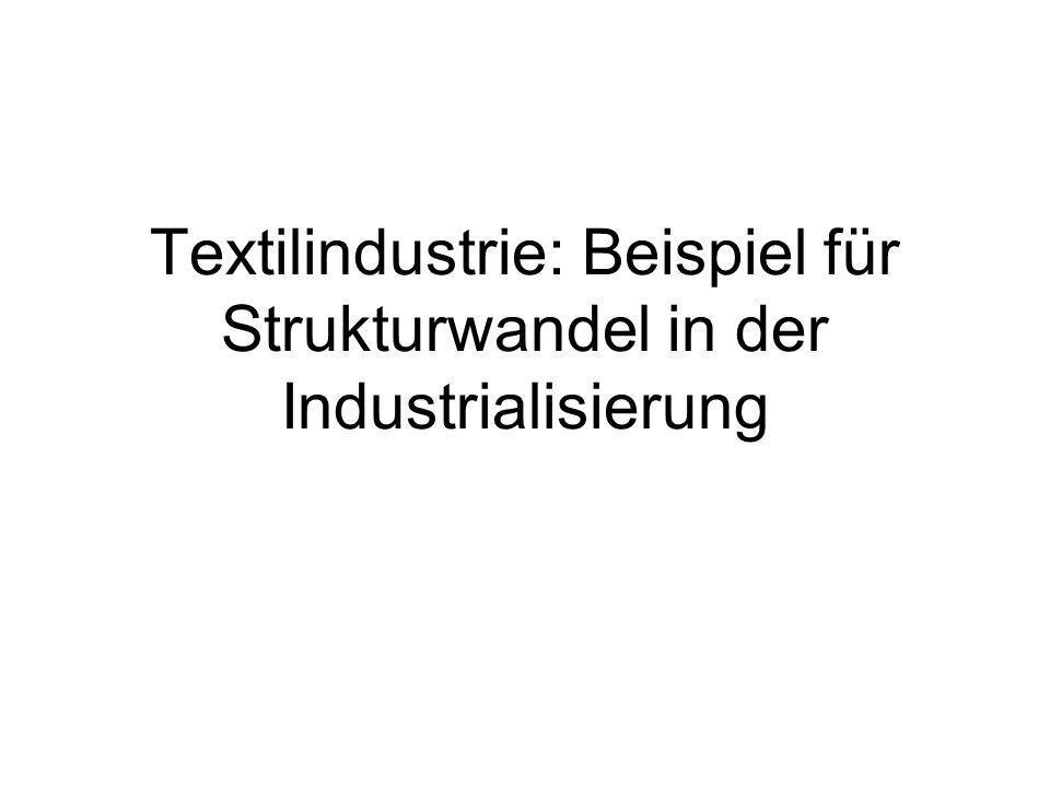 Textilproduktion: Krise und Konjunktur 1 Textilgewerbe 1800: 340 000 hauptberufliche Erwerbstätige –davon 315 000 Weber Garnspinnen im Nebenerwerb –trotz Importe noch mehrere hunderttausende Frauen und Kinder beschäftigt