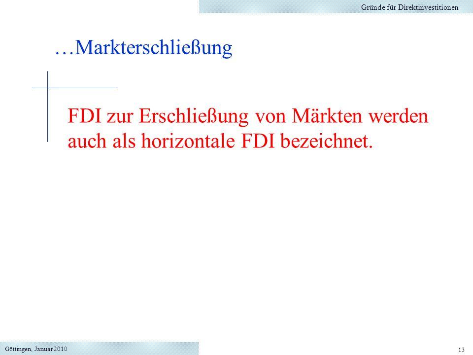 Göttingen, Januar 2010 13 Gründe für Direktinvestitionen FDI zur Erschließung von Märkten werden auch als horizontale FDI bezeichnet. …Markterschließu