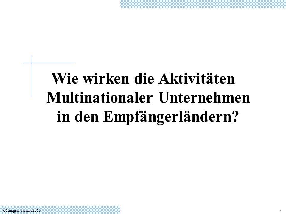 Göttingen, Januar 2010 53 local content requirements Regelung, dass MNU einen bestimmten Anteil von Vorprodukten aus dem Inland beziehen müssen.