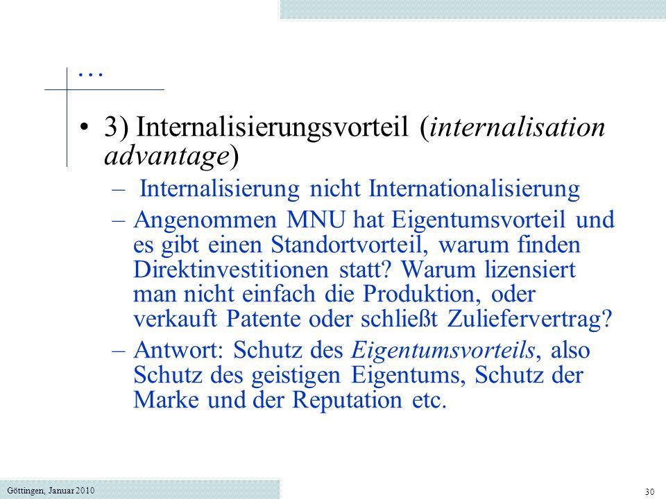 Göttingen, Januar 2010 30 3) Internalisierungsvorteil (internalisation advantage) – Internalisierung nicht Internationalisierung –Angenommen MNU hat E