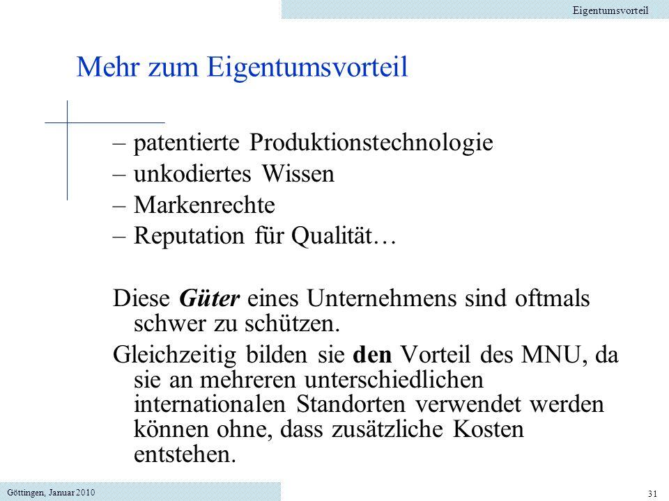 Göttingen, Januar 2010 31 –patentierte Produktionstechnologie –unkodiertes Wissen –Markenrechte –Reputation für Qualität… Diese Güter eines Unternehmens sind oftmals schwer zu schützen.