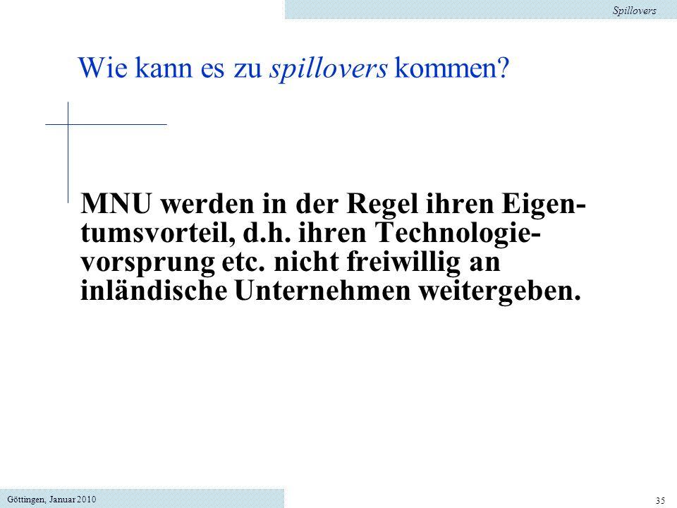 Göttingen, Januar 2010 35 MNU werden in der Regel ihren Eigen- tumsvorteil, d.h. ihren Technologie- vorsprung etc. nicht freiwillig an inländische Unt