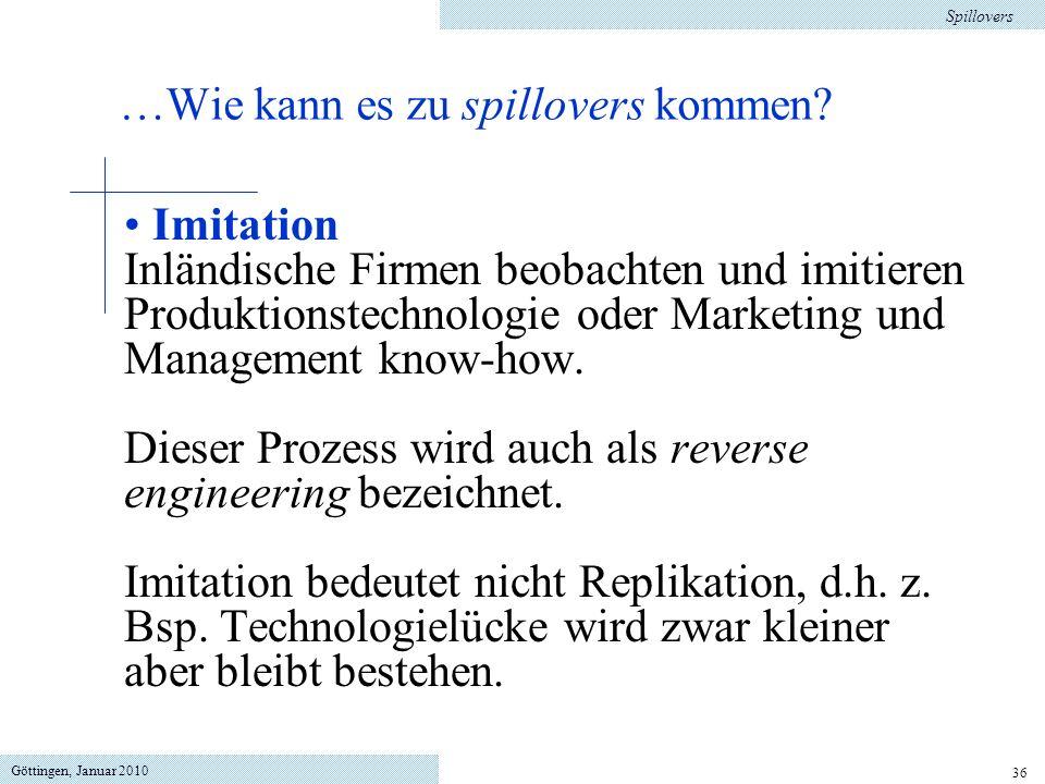 Göttingen, Januar 2010 36 Imitation Inländische Firmen beobachten und imitieren Produktionstechnologie oder Marketing und Management know-how.