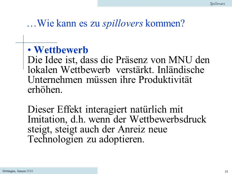 Göttingen, Januar 2010 38 Wettbewerb Die Idee ist, dass die Präsenz von MNU den lokalen Wettbewerb verstärkt. Inländische Unternehmen müssen ihre Prod