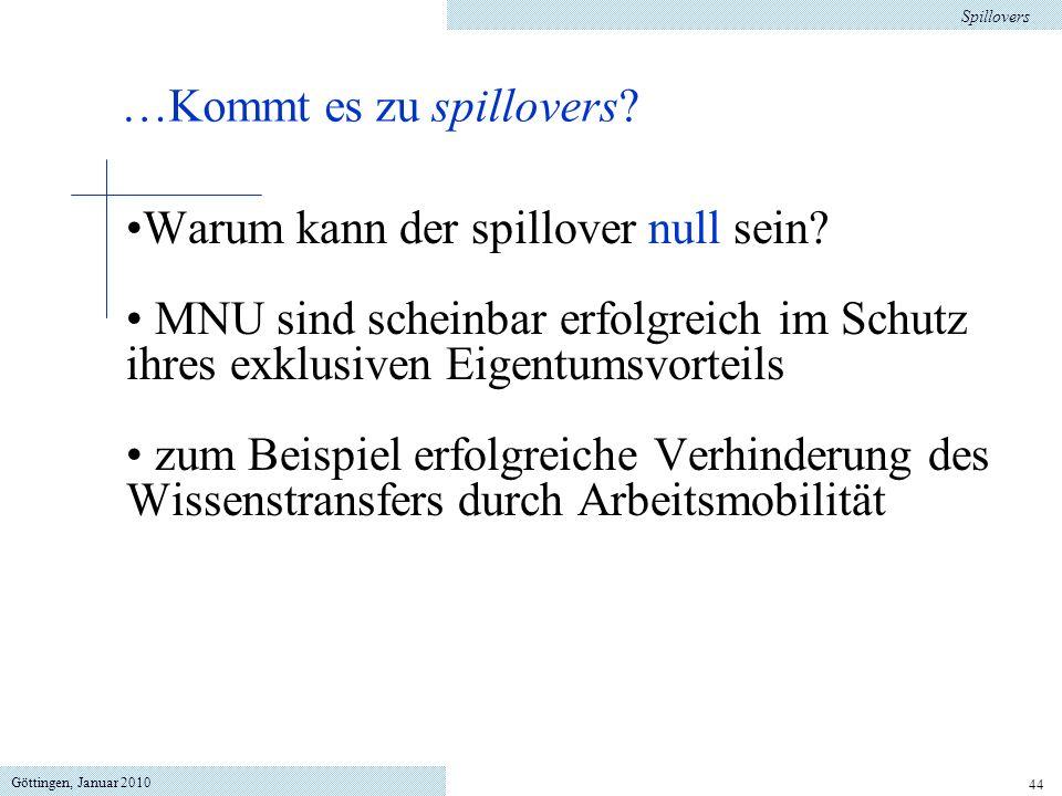 Göttingen, Januar 2010 44 Warum kann der spillover null sein? MNU sind scheinbar erfolgreich im Schutz ihres exklusiven Eigentumsvorteils zum Beispiel