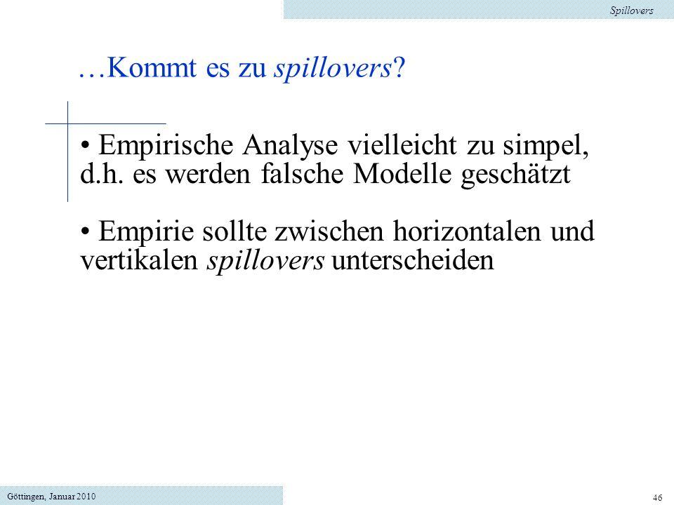 Göttingen, Januar 2010 46 Empirische Analyse vielleicht zu simpel, d.h. es werden falsche Modelle geschätzt Empirie sollte zwischen horizontalen und v