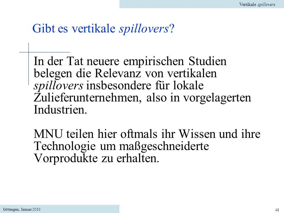 Göttingen, Januar 2010 48 In der Tat neuere empirischen Studien belegen die Relevanz von vertikalen spillovers insbesondere für lokale Zulieferunternehmen, also in vorgelagerten Industrien.