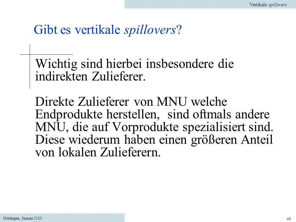 Göttingen, Januar 2010 49 Wichtig sind hierbei insbesondere die indirekten Zulieferer. Direkte Zulieferer von MNU welche Endprodukte herstellen, sind