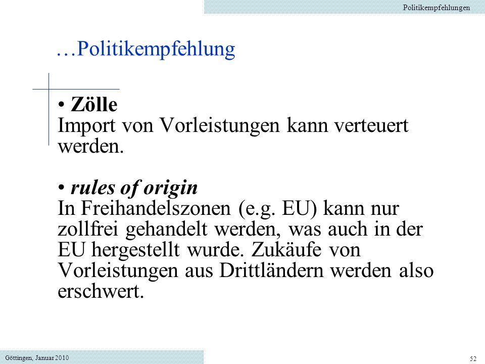 Göttingen, Januar 2010 52 Zölle Import von Vorleistungen kann verteuert werden. rules of origin In Freihandelszonen (e.g. EU) kann nur zollfrei gehand