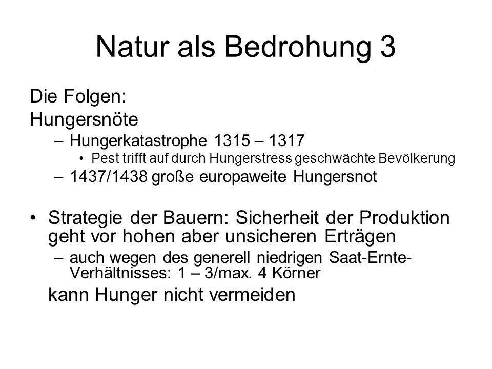 Natur als Bedrohung 3 Die Folgen: Hungersnöte –Hungerkatastrophe 1315 – 1317 Pest trifft auf durch Hungerstress geschwächte Bevölkerung –1437/1438 gro