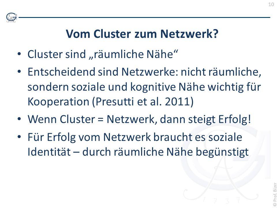 10 © Prof. Bizer Vom Cluster zum Netzwerk? Cluster sind räumliche Nähe Entscheidend sind Netzwerke: nicht räumliche, sondern soziale und kognitive Näh