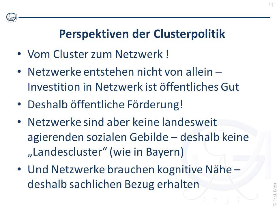 11 © Prof. Bizer Perspektiven der Clusterpolitik Vom Cluster zum Netzwerk ! Netzwerke entstehen nicht von allein – Investition in Netzwerk ist öffentl