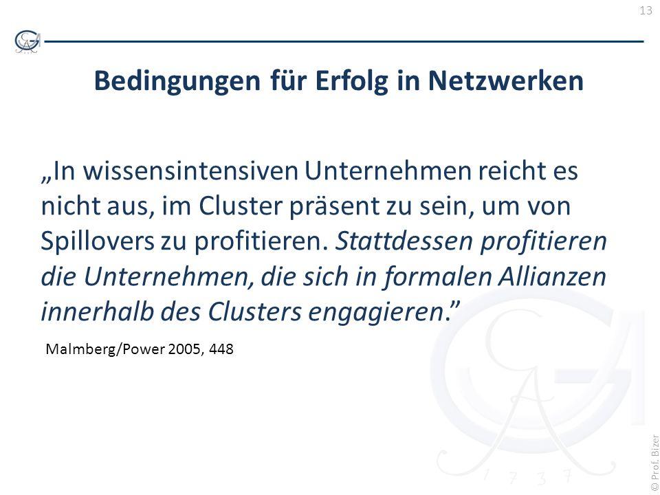 13 © Prof. Bizer Bedingungen für Erfolg in Netzwerken In wissensintensiven Unternehmen reicht es nicht aus, im Cluster präsent zu sein, um von Spillov