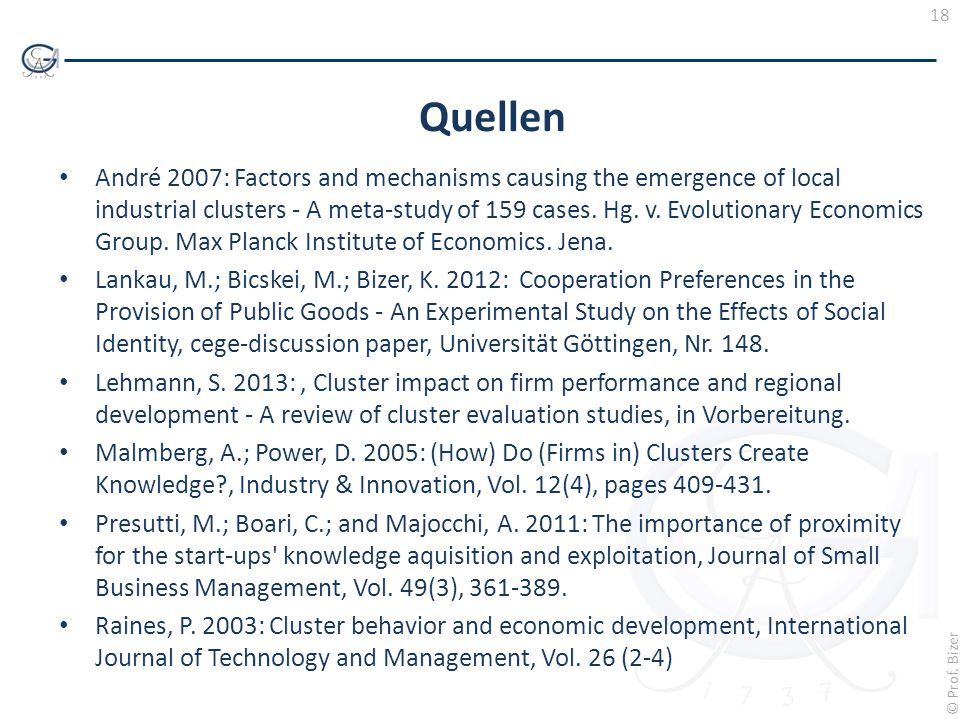 18 © Prof. Bizer Quellen André 2007: Factors and mechanisms causing the emergence of local industrial clusters - A meta-study of 159 cases. Hg. v. Evo