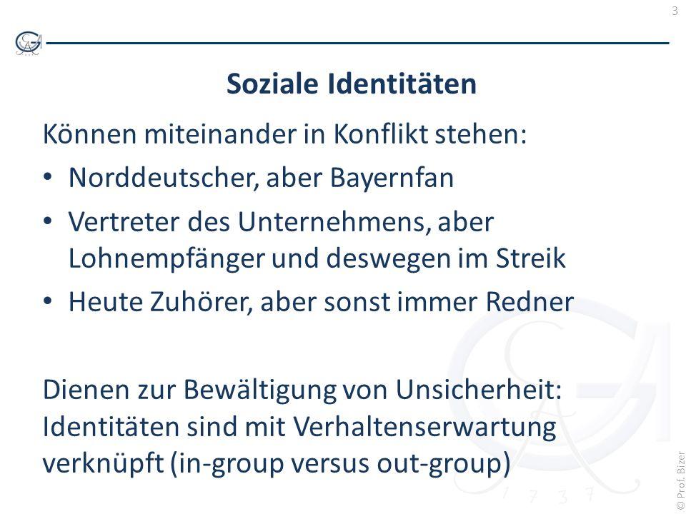 3 © Prof. Bizer Soziale Identitäten Können miteinander in Konflikt stehen: Norddeutscher, aber Bayernfan Vertreter des Unternehmens, aber Lohnempfänge