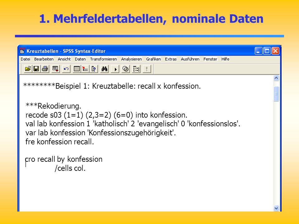 1. Mehrfeldertabellen, nominale Daten 1. Mehrfeldertabellen, nominale Daten ********Beispiel 1: Kreuztabelle: recall x konfession. ***Rekodierung. rec