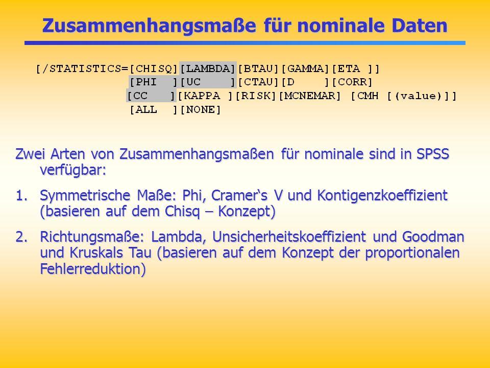 Zusammenhangsmaße für nominale Daten Zwei Arten von Zusammenhangsmaßen für nominale sind in SPSS verfügbar: 1.Symmetrische Maße: Phi, Cramers V und Ko