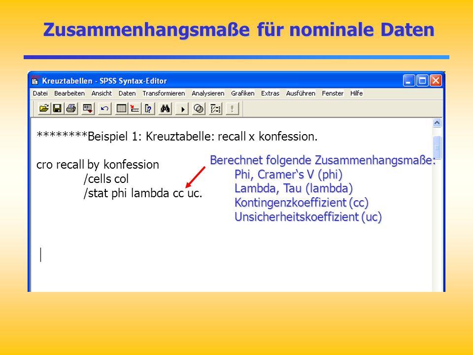 Zusammenhangsmaße für nominale Daten Zusammenhangsmaße für nominale Daten ********Beispiel 1: Kreuztabelle: recall x konfession. cro recall by konfess