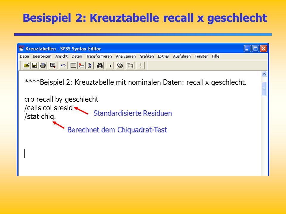 Besispiel 2: Kreuztabelle recall x geschlecht Besispiel 2: Kreuztabelle recall x geschlecht ****Beispiel 2: Kreuztabelle mit nominalen Daten: recall x