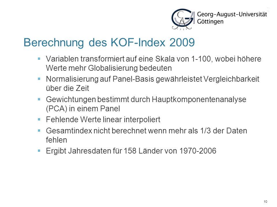 10 Berechnung des KOF-Index 2009 Variablen transformiert auf eine Skala von 1-100, wobei höhere Werte mehr Globalisierung bedeuten Normalisierung auf
