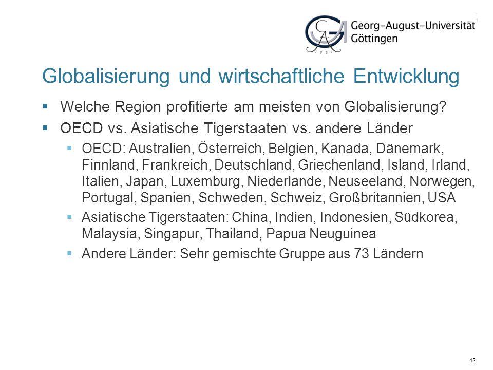 42 Globalisierung und wirtschaftliche Entwicklung Welche Region profitierte am meisten von Globalisierung? OECD vs. Asiatische Tigerstaaten vs. andere