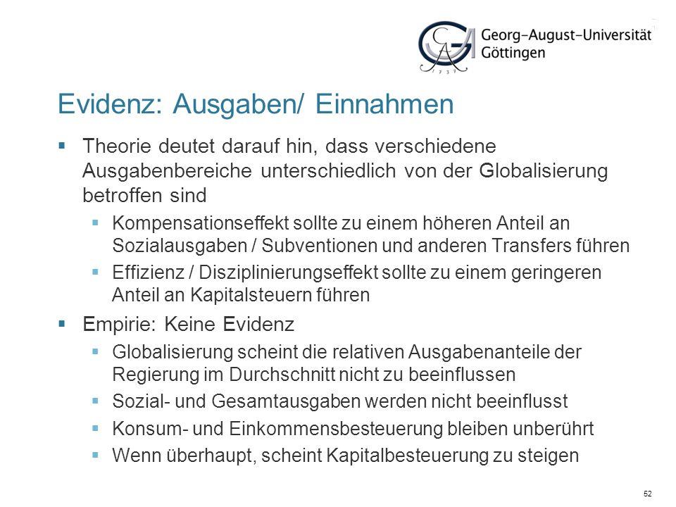 52 Evidenz: Ausgaben/ Einnahmen Theorie deutet darauf hin, dass verschiedene Ausgabenbereiche unterschiedlich von der Globalisierung betroffen sind Ko