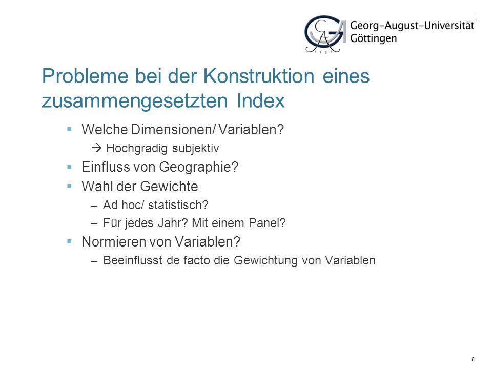 8 Probleme bei der Konstruktion eines zusammengesetzten Index Welche Dimensionen/ Variablen? Hochgradig subjektiv Einfluss von Geographie? Wahl der Ge