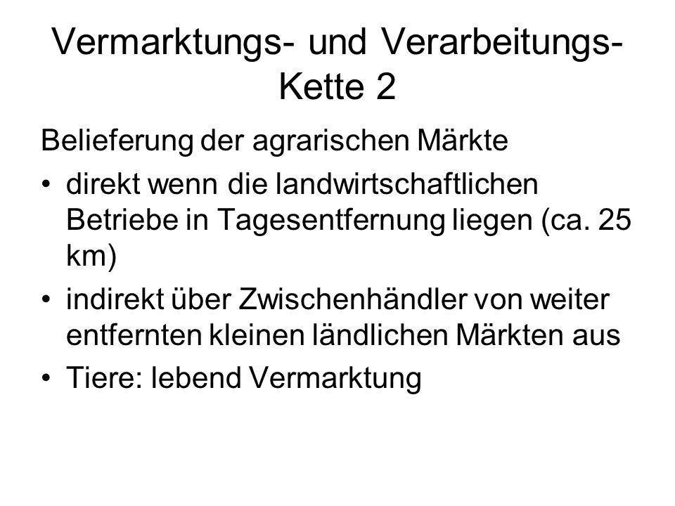 Vermarktungs- und Verarbeitungs- Kette 2 Belieferung der agrarischen Märkte direkt wenn die landwirtschaftlichen Betriebe in Tagesentfernung liegen (ca.