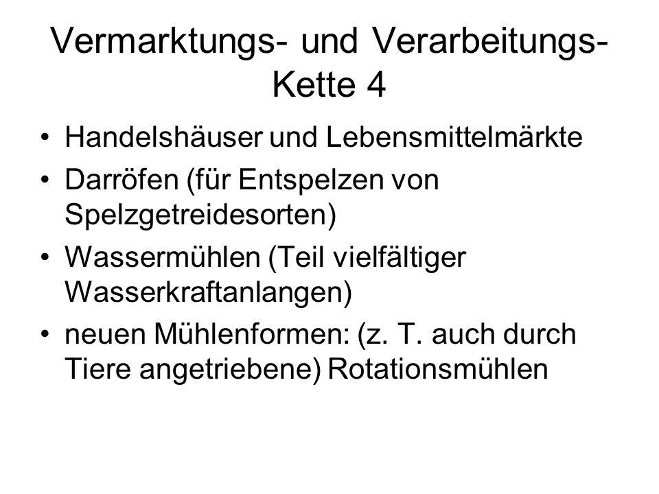 Vermarktungs- und Verarbeitungs- Kette 4 Handelshäuser und Lebensmittelmärkte Darröfen (für Entspelzen von Spelzgetreidesorten) Wassermühlen (Teil vielfältiger Wasserkraftanlangen) neuen Mühlenformen: (z.