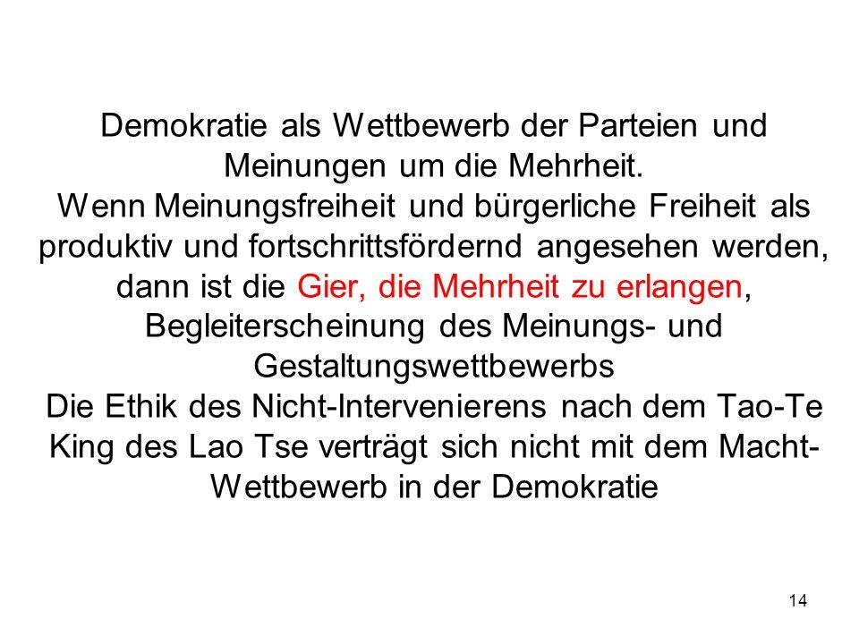 14 Demokratie als Wettbewerb der Parteien und Meinungen um die Mehrheit. Wenn Meinungsfreiheit und bürgerliche Freiheit als produktiv und fortschritts