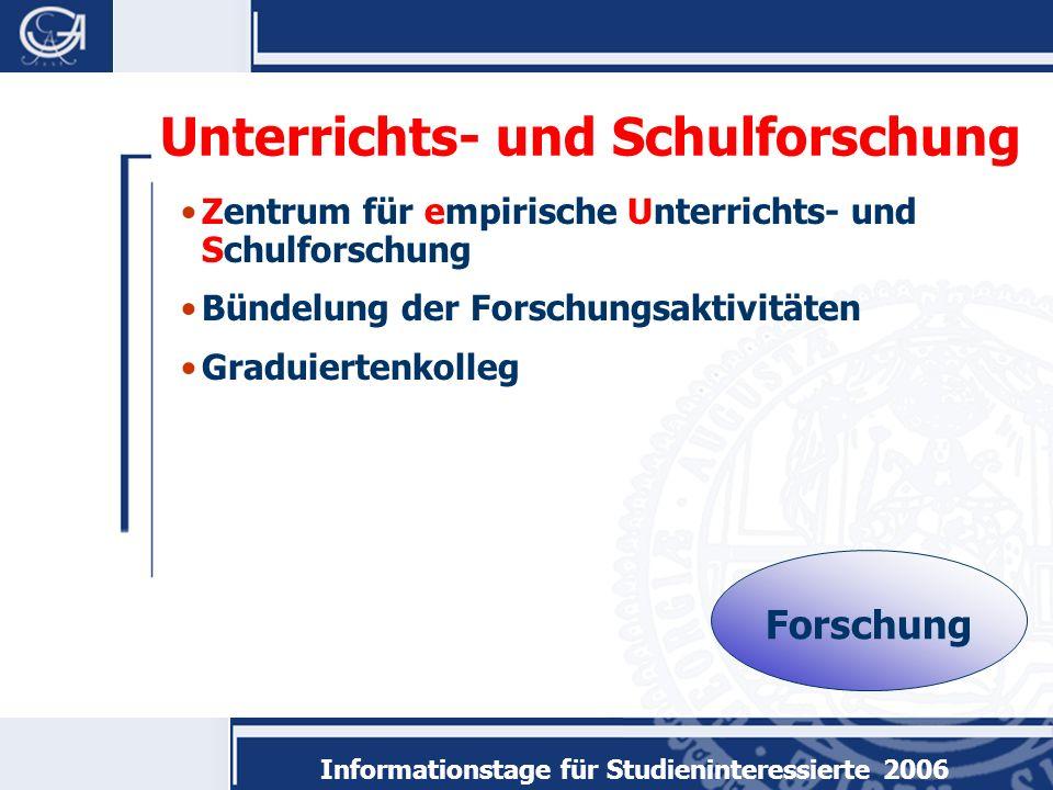 Informationstage für Studieninteressierte 2006 Zentrum für empirische Unterrichts- und Schulforschung Bündelung der Forschungsaktivitäten Graduiertenkolleg Unterrichts- und Schulforschung Forschung