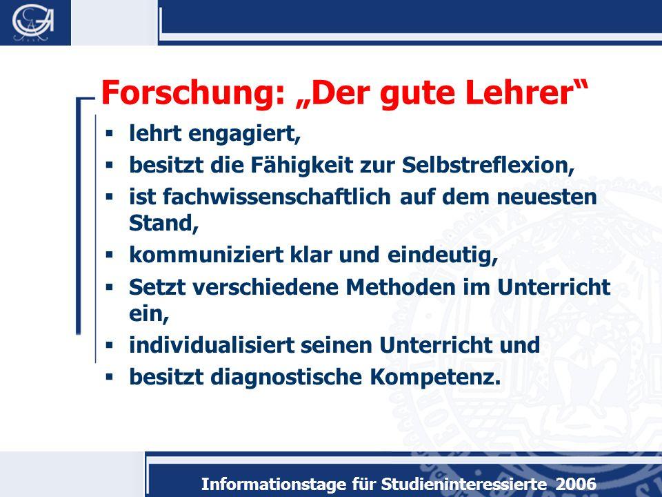Informationstage für Studieninteressierte 2006 Sind Sie geeignet.