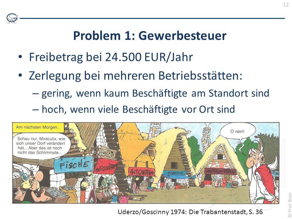 12 © Prof. Bizer Problem 1: Gewerbesteuer Freibetrag bei 24.500 EUR/Jahr Zerlegung bei mehreren Betriebsstätten: – gering, wenn kaum Beschäftigte am S