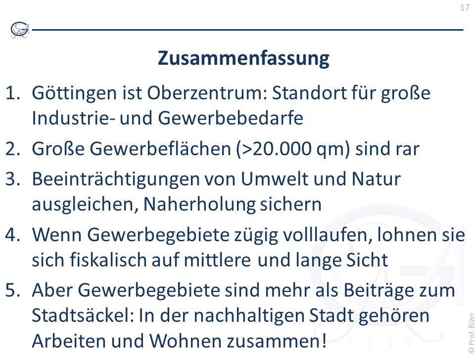 17 © Prof. Bizer Zusammenfassung 1.Göttingen ist Oberzentrum: Standort für große Industrie- und Gewerbebedarfe 2.Große Gewerbeflächen (>20.000 qm) sin
