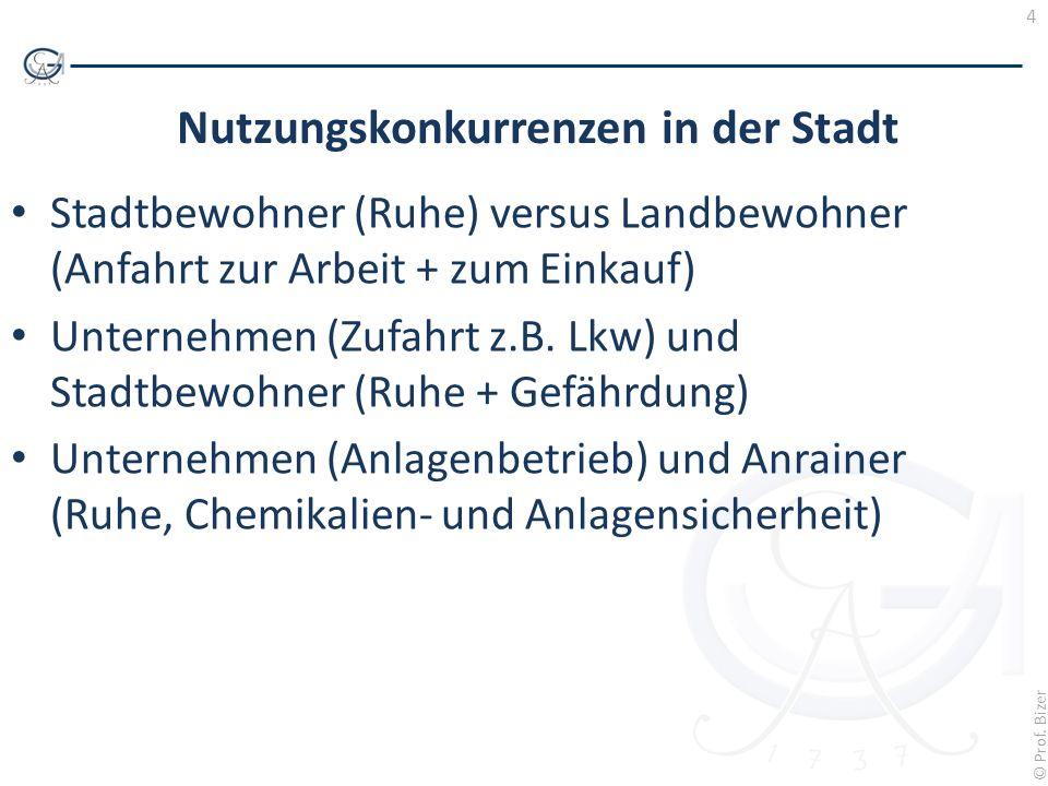 4 © Prof. Bizer Nutzungskonkurrenzen in der Stadt Stadtbewohner (Ruhe) versus Landbewohner (Anfahrt zur Arbeit + zum Einkauf) Unternehmen (Zufahrt z.B
