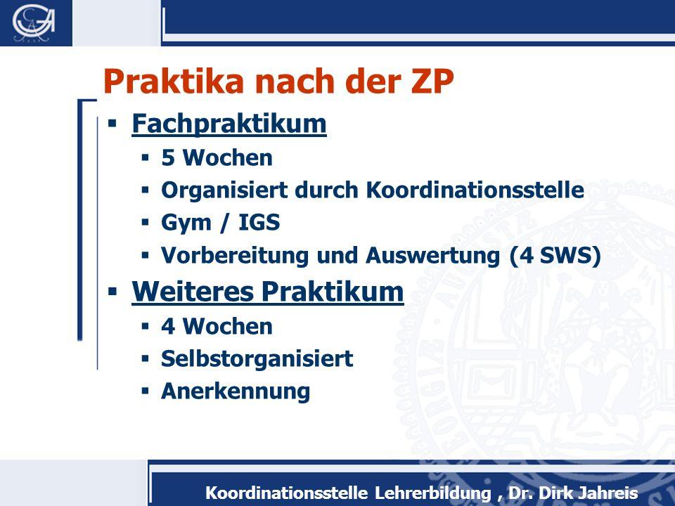 Koordinationsstelle Lehrerbildung, Dr. Dirk Jahreis Praktika nach der ZP Fachpraktikum 5 Wochen Organisiert durch Koordinationsstelle Gym / IGS Vorber