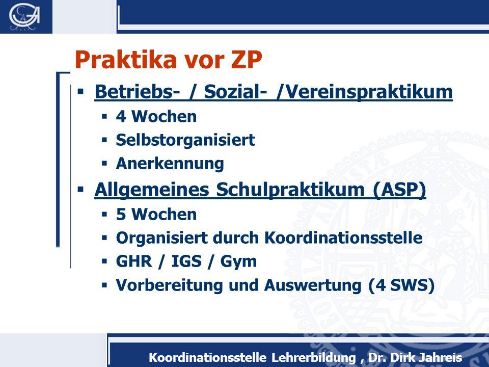 Koordinationsstelle Lehrerbildung, Dr. Dirk Jahreis Praktika vor ZP Betriebs- / Sozial- /Vereinspraktikum 4 Wochen Selbstorganisiert Anerkennung Allge