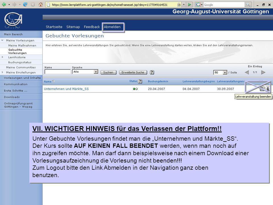 VII. WICHTIGER HINWEIS für das Verlassen der Plattform!.
