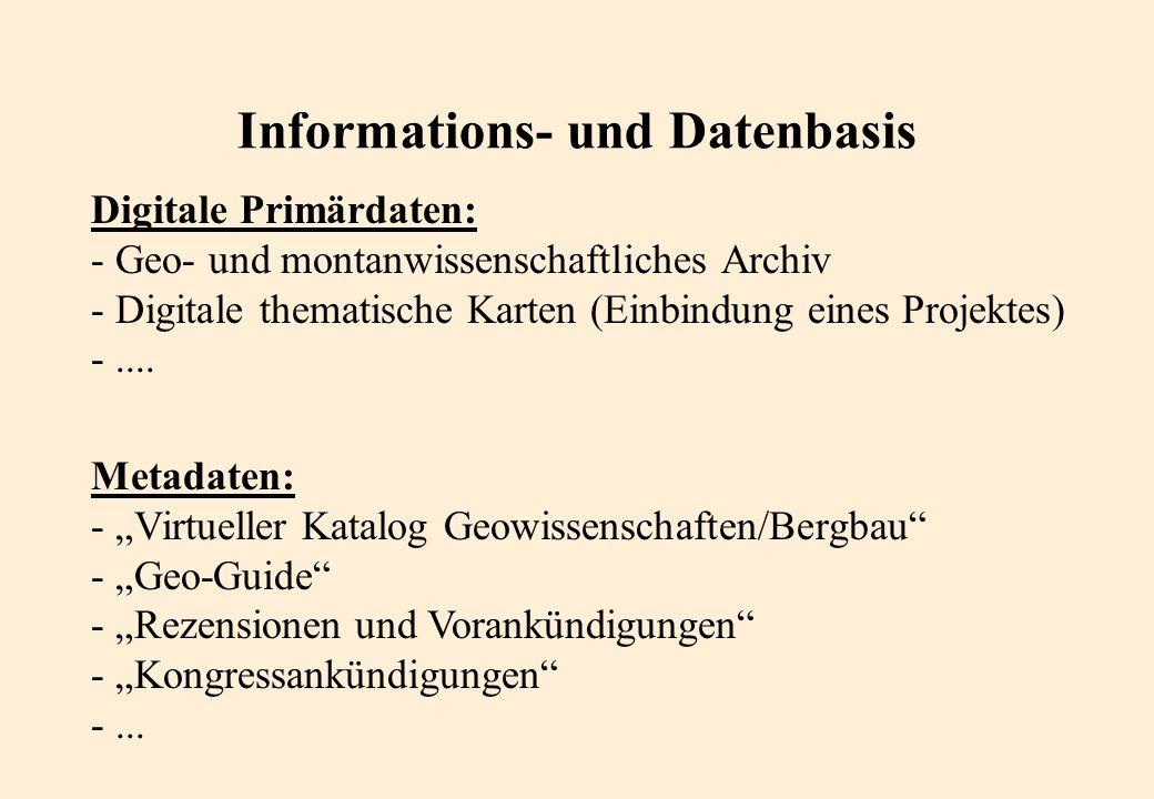 Informations- und Datenbasis Digitale Primärdaten: - Geo- und montanwissenschaftliches Archiv - Digitale thematische Karten (Einbindung eines Projektes) -....