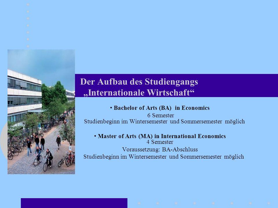Der Aufbau des Studiengangs Internationale Wirtschaft Bachelor of Arts (BA) in Economics 6 Semester Studienbeginn im Wintersemester und Sommersemester