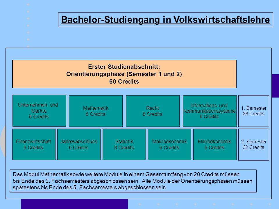 Bachelor-Studiengang in Volkswirtschaftslehre 1. Semester 28 Credits 2. Semester 32 Credits Erster Studienabschnitt: Orientierungsphase (Semester 1 un
