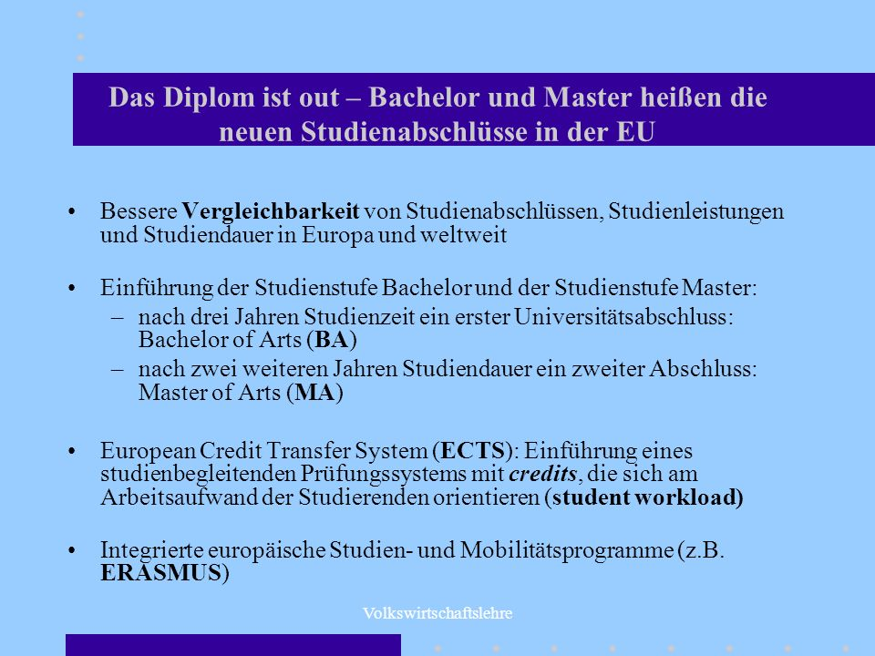 Volkswirtschaftslehre Der Studiengang Internationale Wirtschaft gliedert sich auf in: den Bachelor-Studiengang in Volkswirtschaftslehre mit dem Abschluss Bachelor of Arts (BA) in Economics (6 Semester) anschließend der Master- Studiengang International Economics mit dem Abschluss: Master of Arts (MA) in International Economics (4 Semester)