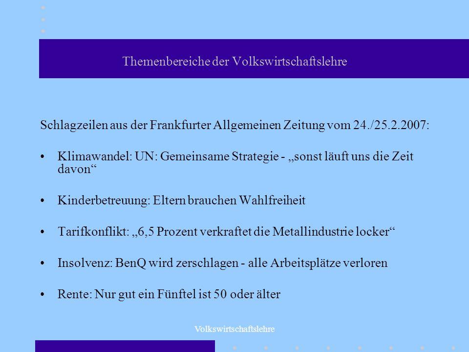 Volkswirtschaftslehre Themenbereiche der Volkswirtschaftslehre Schlagzeilen aus der Frankfurter Allgemeinen Zeitung vom 24./25.2.2007: Klimawandel: UN