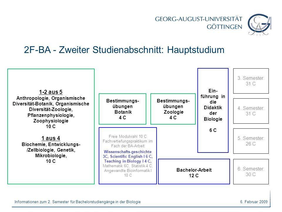 6. Februar 2009Informationen zum 2. Semester für Bachelorstudiengänge in der Biologie 2F-BA - Zweiter Studienabschnitt: Hauptstudium 3. Semester: 31 C