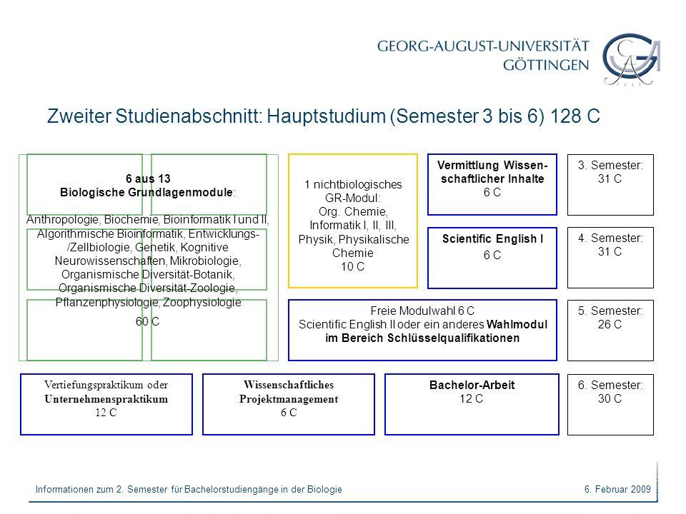 6. Februar 2009Informationen zum 2. Semester für Bachelorstudiengänge in der Biologie Zweiter Studienabschnitt: Hauptstudium (Semester 3 bis 6) 128 C