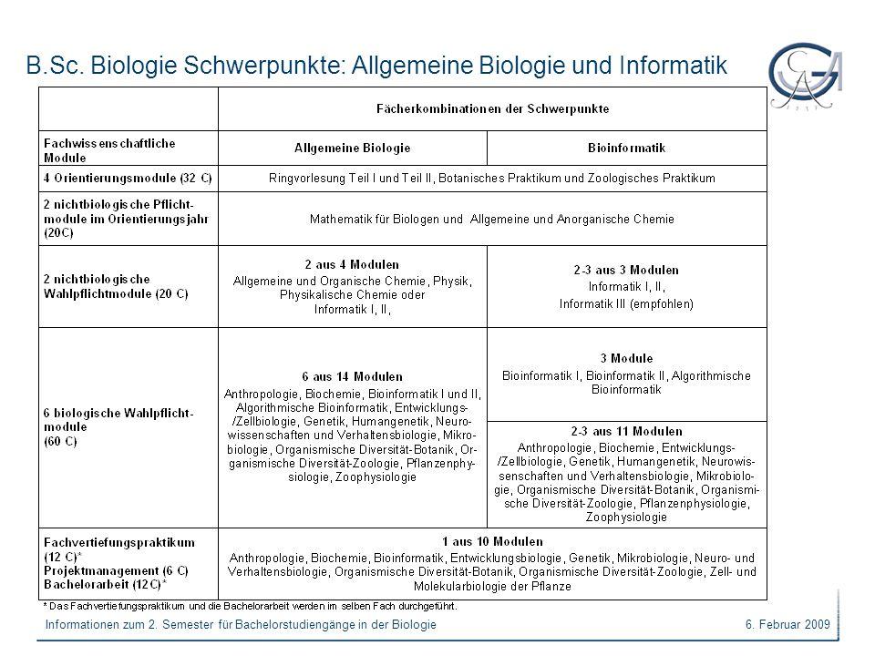 6. Februar 2009Informationen zum 2. Semester für Bachelorstudiengänge in der Biologie B.Sc. Biologie Schwerpunkte: Allgemeine Biologie und Informatik
