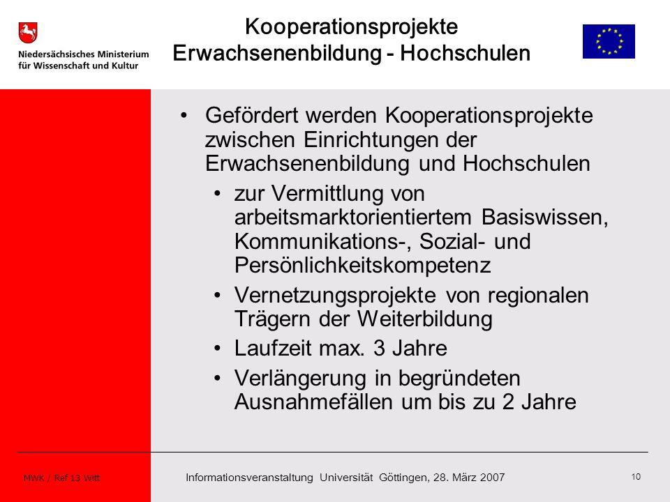 Informationsveranstaltung Universität Göttingen, 28. März 2007 MWK / Ref 13 Witt 10 Kooperationsprojekte Erwachsenenbildung - Hochschulen Gefördert we
