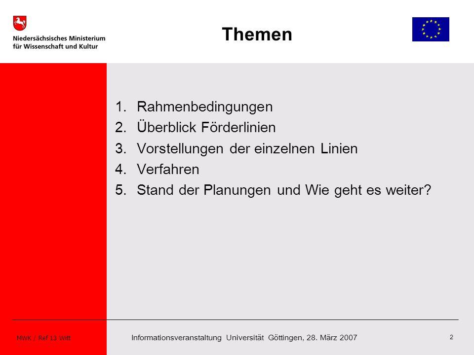 Informationsveranstaltung Universität Göttingen, 28. März 2007 MWK / Ref 13 Witt 2 Themen 1.Rahmenbedingungen 2.Überblick Förderlinien 3.Vorstellungen